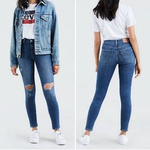 Levi's 721 High-Rise Skinny Distressed Jeans 30